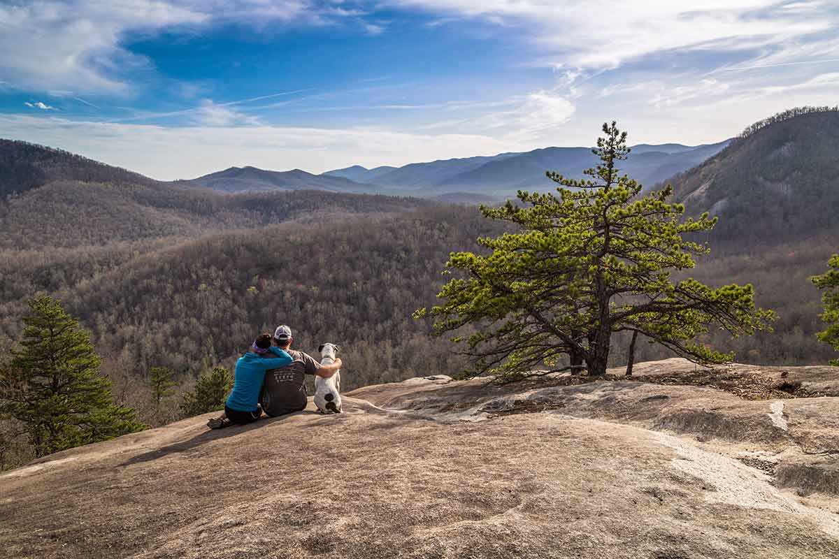 couple with dog on Slate Rock in Pisgah National Forest Asheville NC