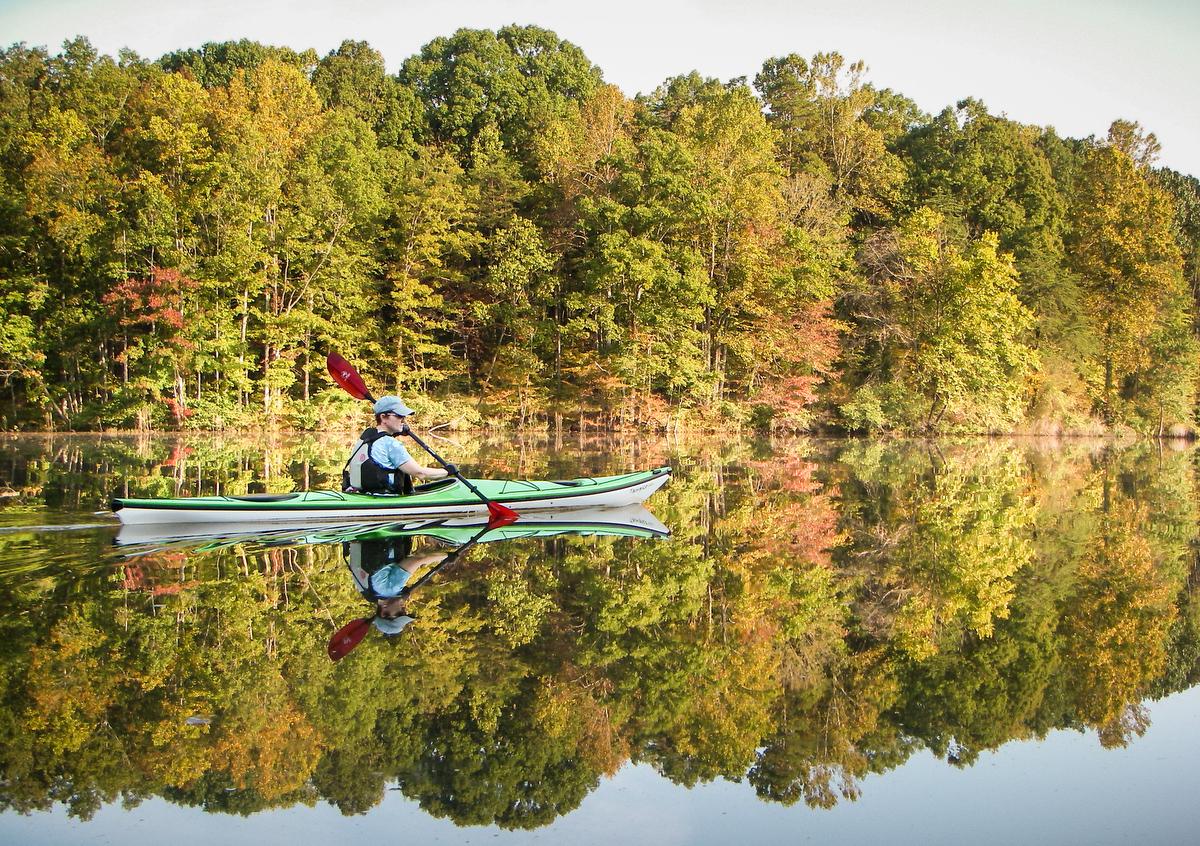 kayaking on Salem Lake in Winston Salem NC