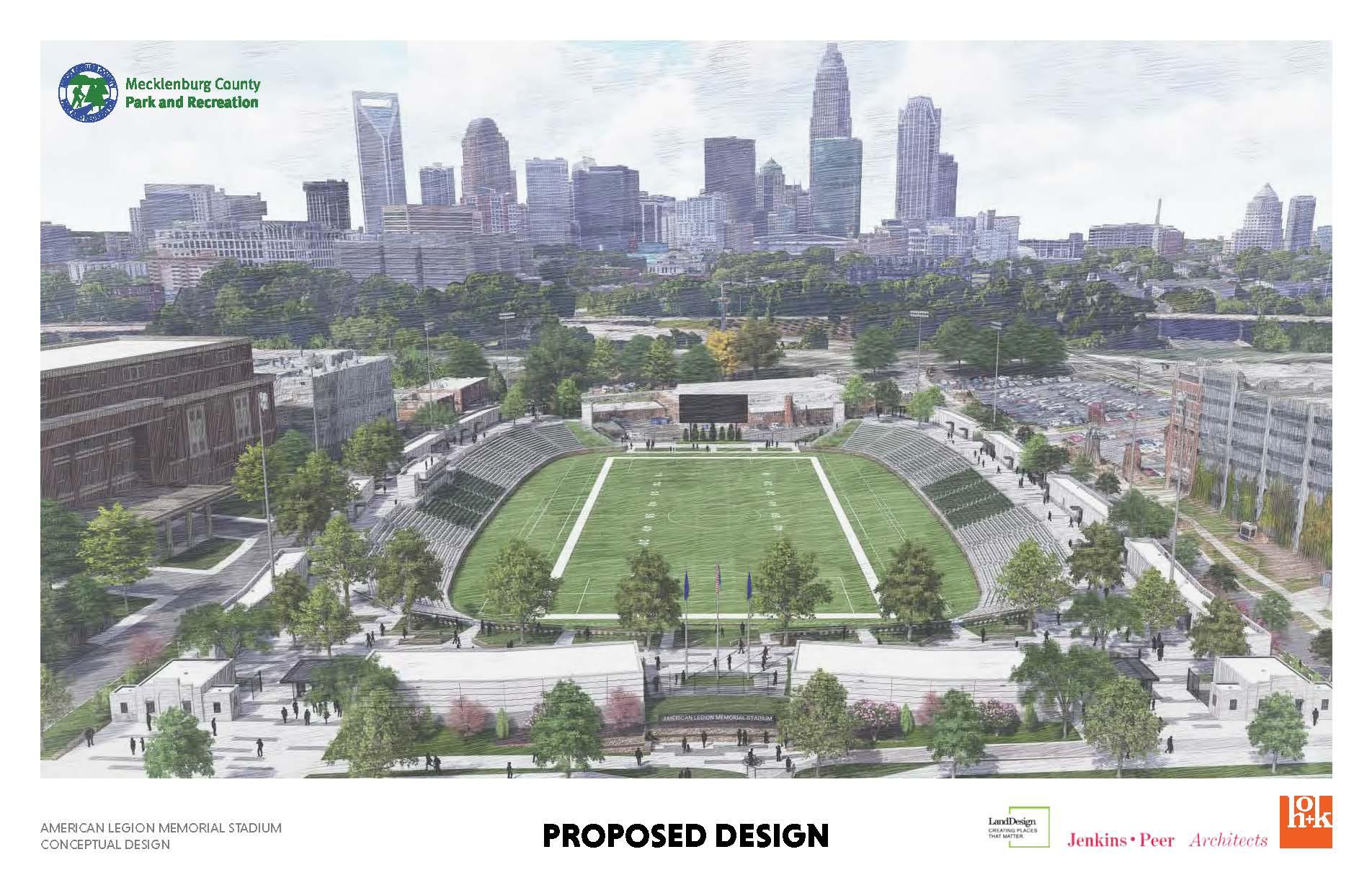 rendering of the American Legion Memorial Stadium in Charlotte NC