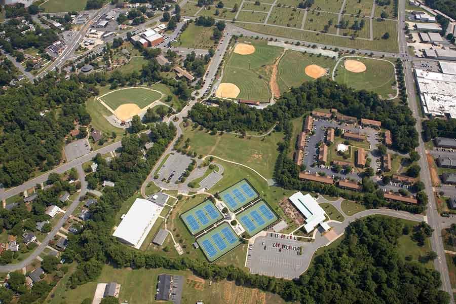 aerial of city park in Burlington NC