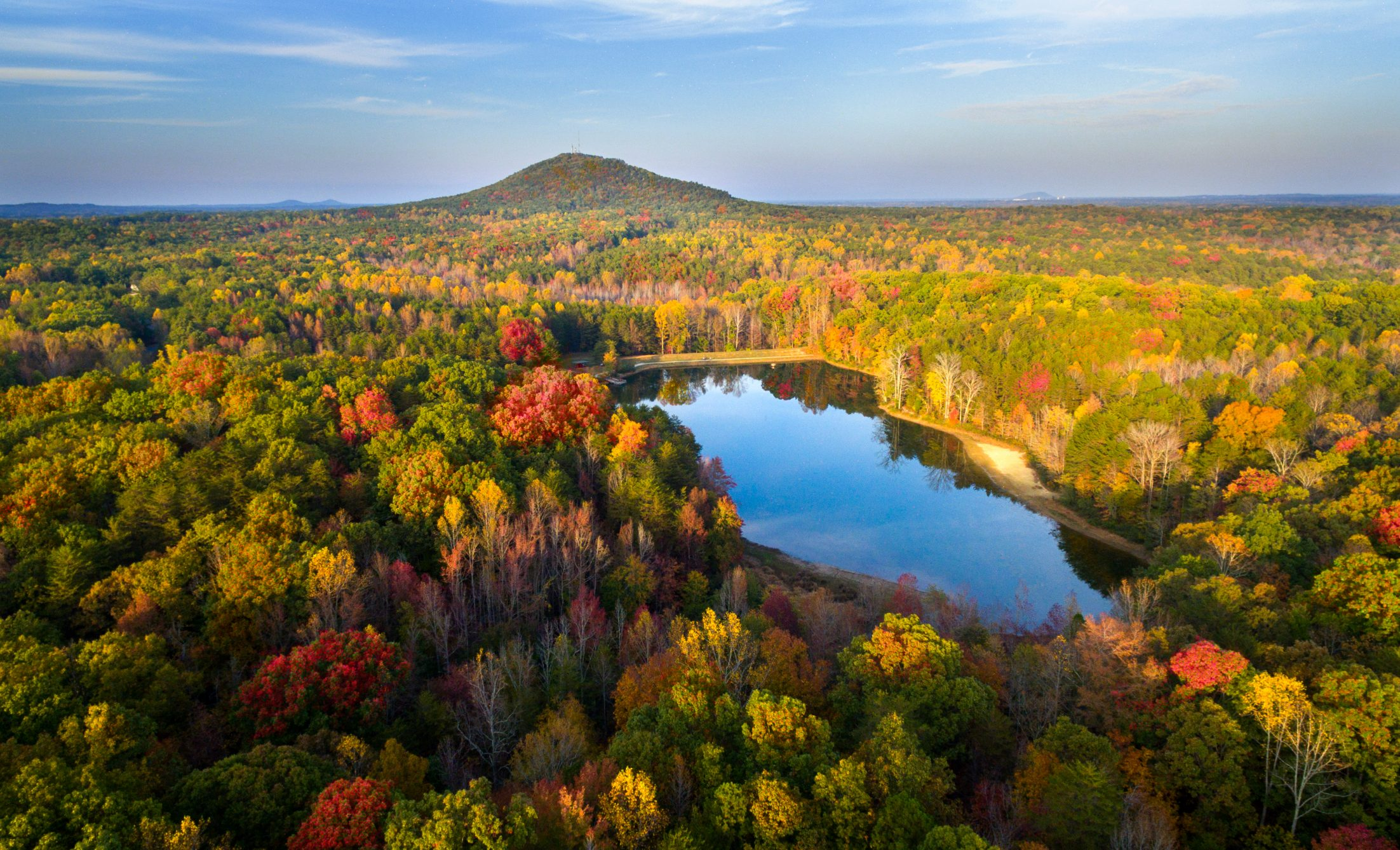 aerial image of crowders mountain state park in the fall