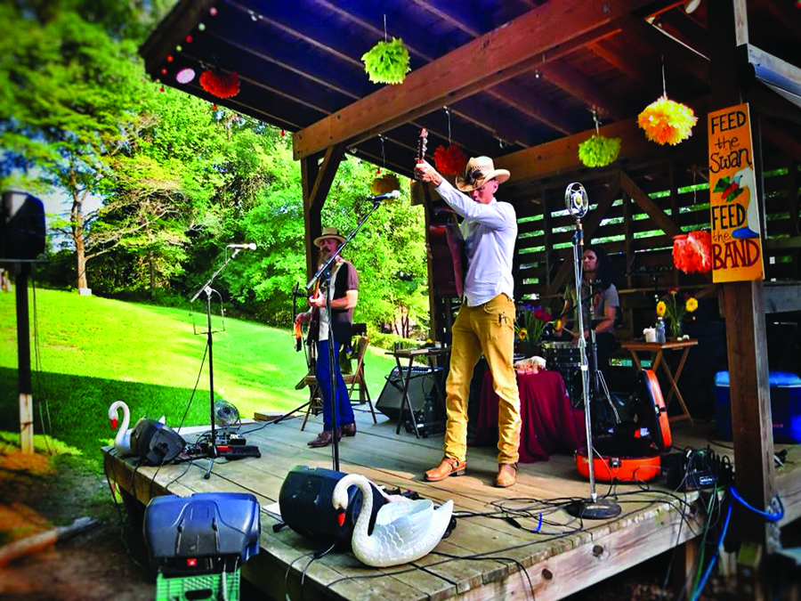 live musicians on stage in Saxapahaw NC