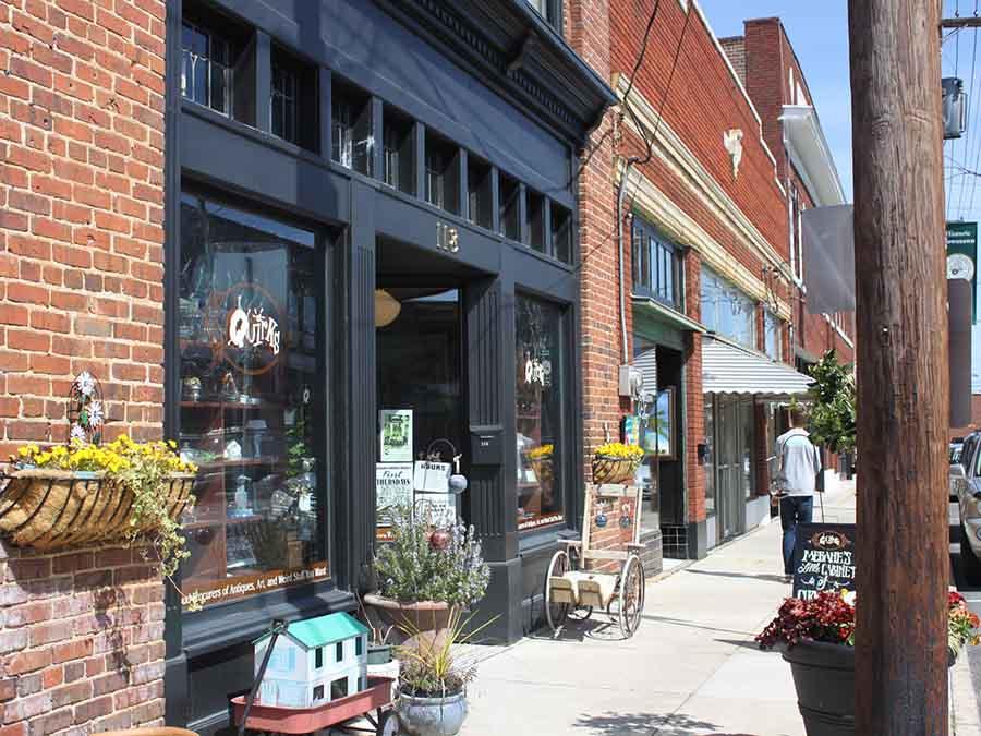 shopfronts in downtown Mebane NC