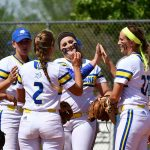 softball players congratulating each other at a field in Alamance County NC